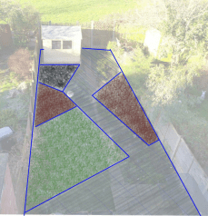 suburban garden new design layout using asymmetric borders and offsetting the patio and path angles