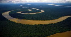 aerial view of meandering river