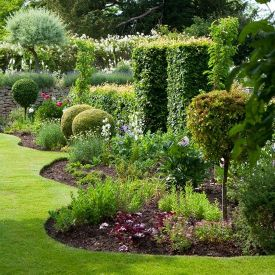 not a natural looking garden shape. Weird wobbly lawn cut to fit around curved garden borders