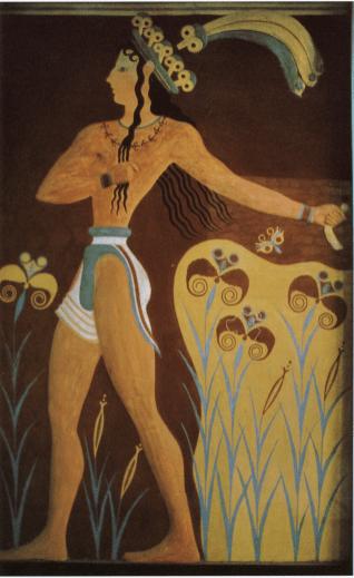 백합 왕자Prince of the Lilies, 크노소스 궁전 벽화. BC 1550. 이라클리오 고고학 박물관.