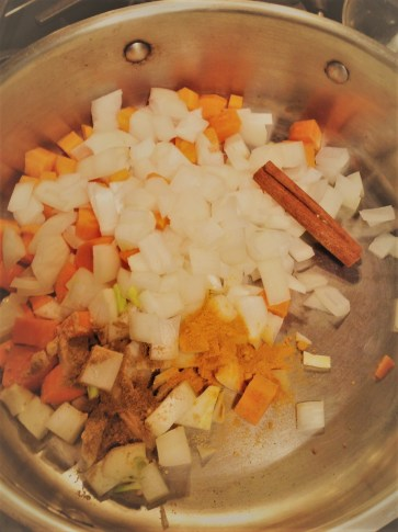 Chef's Flavor Tip: Toast the spices and cinnamon with the onion and carrot, 5-7 minutes, until aromatic. There's no need to add oil for this fat-free step, as the moisture from the carrot and onion will help warm the spices