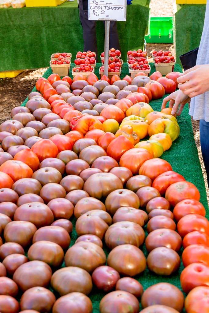 Choose whatever tomatoes look best at the market.  These big heirloom tomatoes have sweet flavor and make a beautiful salad