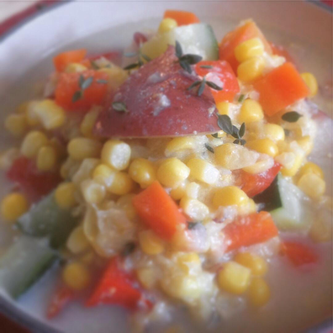 Easy Chunky Vegan Summer Corn Chowder - Healthy, Plant-Based, Oil-Free, Gluten-Free, Dairy Free Soup Recipe