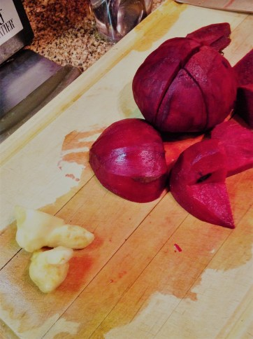Sweet red beets and spicy ginger come together with salty tamari for a balance of interesting flavors