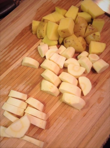 Parsnips and Yukon potatoes create a delicious mash for this hearty vegan dinner