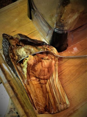 Use a large spoon to scrape out the flesh after the eggplant is done roasting