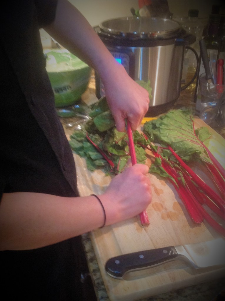 Chef's Greens Cooking Tip:  Use your hands to strip off the chard leaves from the stalks.  Both parts are edible, but the stalks take longer to cook.  They add a nice color and sweetness to this healthy recipe