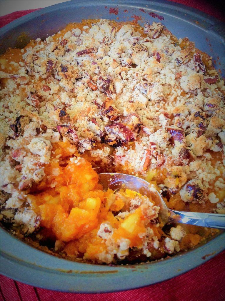 Sweet Potato Pineapple Casserole with Pecan Streussel - Healthy, Gluten-Free, Oil-Free, Plant-Based, Vegan Recipe from Plants-Rule
