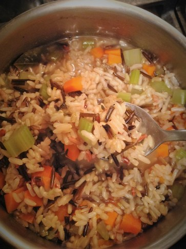 """The rice is done when it is tender. There should still be a little """"bite"""" for a slightly chewy texture"""