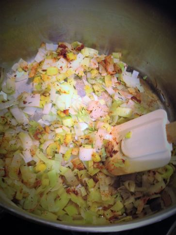 Sweat the leeks with the smoked paprika and thyme to activate the spices and create deeper flavor