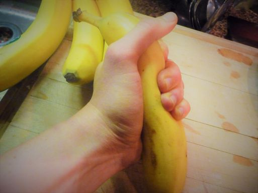 Give your bananas a squeeze before peeling. This will help soften them before using them in the recipe.