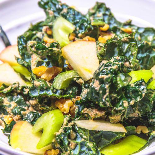 Lacinato Kale Waldorf Salad with Apple, Walnut, Dijon Dressing - Healthy, Plant-Based, Oil-Free, Gluten-Free, Vegan Winter Salad Recipe from Plants-Rule