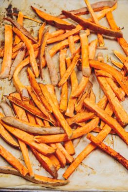Use parchment paper to prevent the fries from sticking for this easy, oil-free vegan recipe