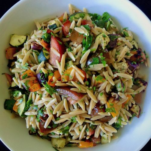 Whole Wheat Orzo Ratatouille Vegetable Pasta Salad - Healthy, Plant-Based, Oil-Free, Italian, Summer Vegan Recipe