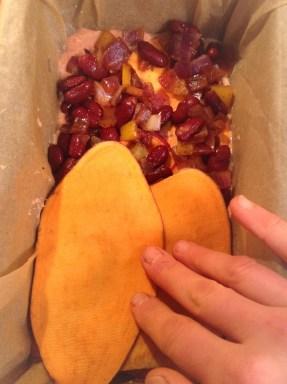Layer it up! Sweet potato, red kidney bean filling, macadamia ricotta geez... so goood
