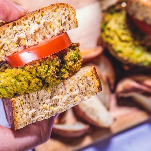 Super Green Quinoa Vegetable Sliders - Healthy, Plant-Based, Gluten-Free, Oil-Free, Vegan Veggie Burger Recipe