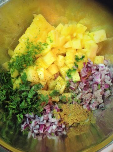 Raw Pineapple Salsa Simple Healthy Ingredients - Pineapple, Red Onion, Jalapeno, Cumin, Lime, Cilantro