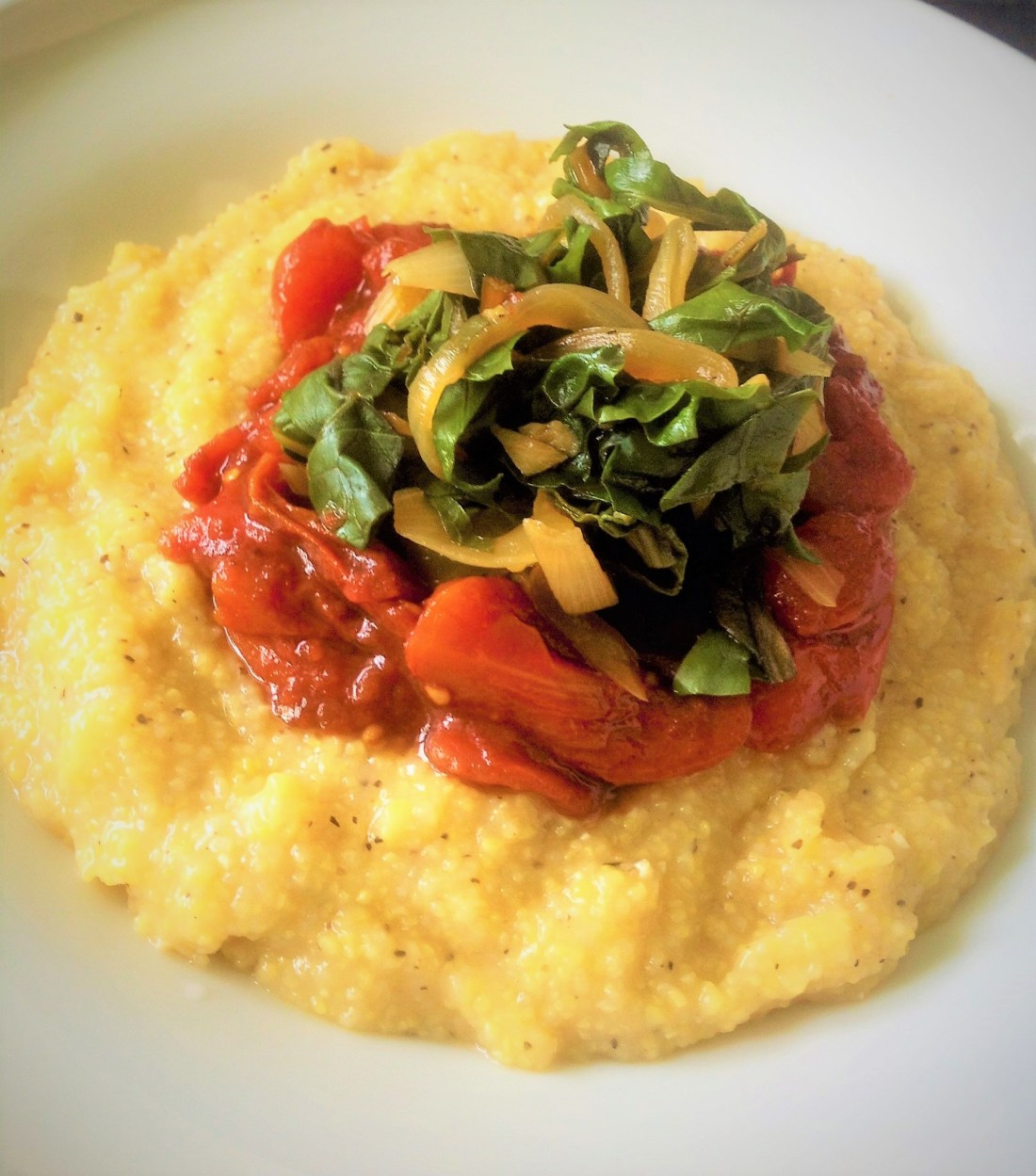 Peppery Southern Grits, Tomato Jam and Braised Greens - Healthy, Plant-Based, Oil-Free, Gluten-Free, Comfort Food, Vegan Recipe