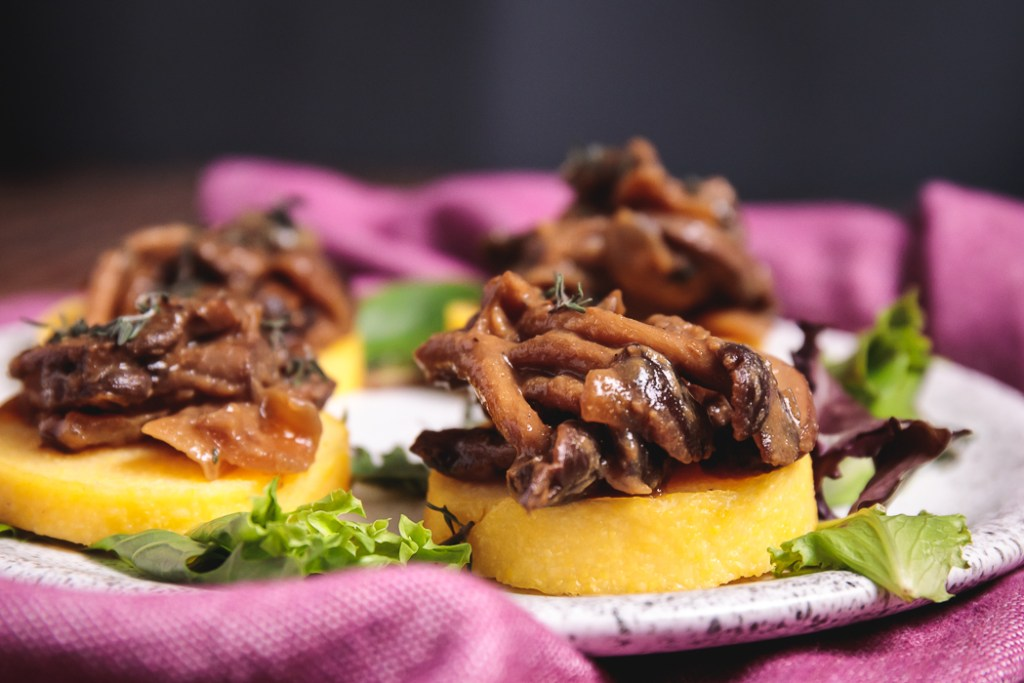 Baked Polenta Discs with Wild Mushroom Ragout - Healthy, Plant-Based, Gluten-Free, Oil-Free, Italian Appetizer Recipe with Pioppini