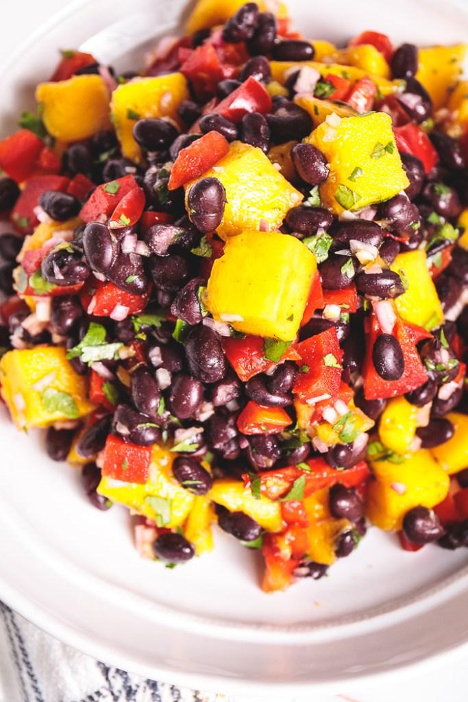 5-Minute Mango Corn Black Bean Salad - Easy, Healthy, Plant-Based, Grain-Free, Oil-Free, Vegan Recipe