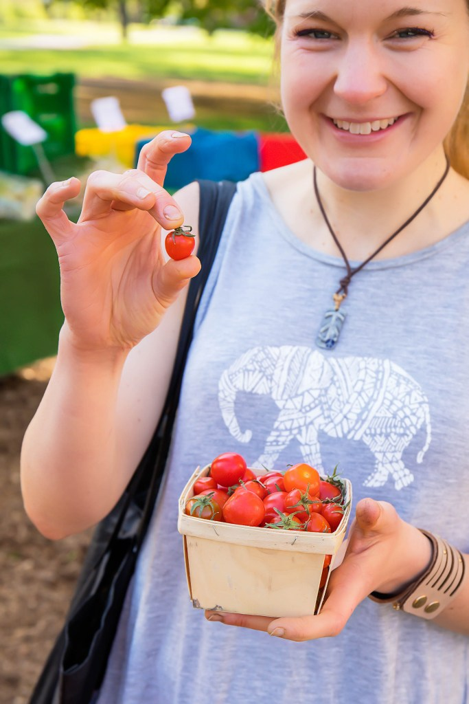 Chef Katie Simmons and Tiny Sungold Tomatoes