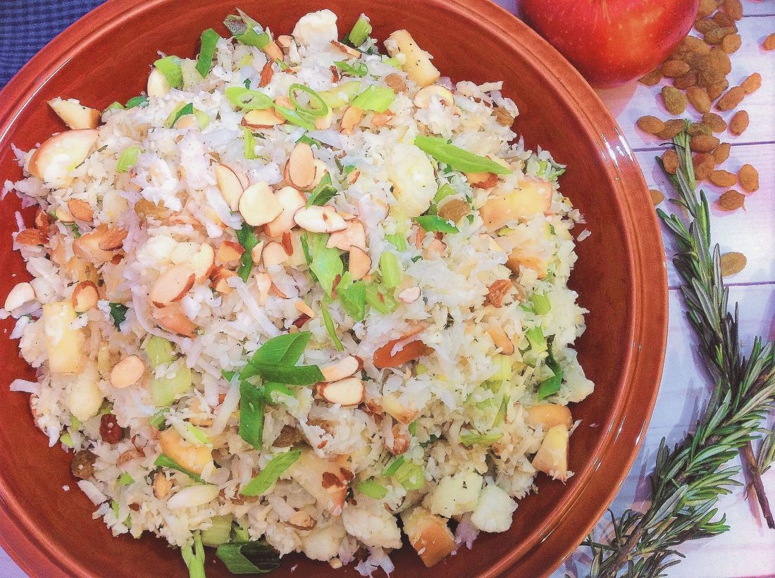 Grain-Free Cauliflower Couscous - Healthy, Plant-Based, Gluten-Free, Oil-Free Vegan Side Dish Recipe with Almonds and Golden Raisins