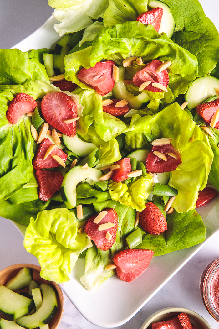 Plants-Rule Boston Bibb Salad Recipe with Almonds Roasted Strawberries Oil-Free Dressing