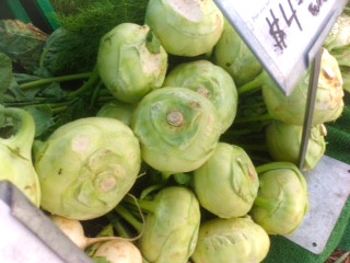 Kohlrabi is a crunchy, slightly sweet green vegetable, related to turnips.  Find it at Chicago's Green City Farmer's Market or your local market