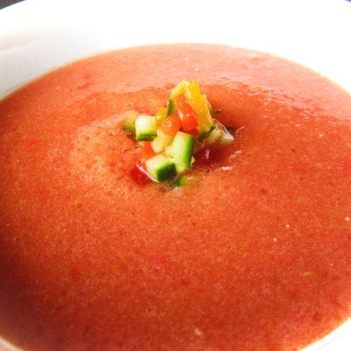 Kumato Tomato Oil-Free Cold Gazpacho Soup - Healthy, Gluten-Free, Easy, Plant-Based Vegan Fat-Free Recipe