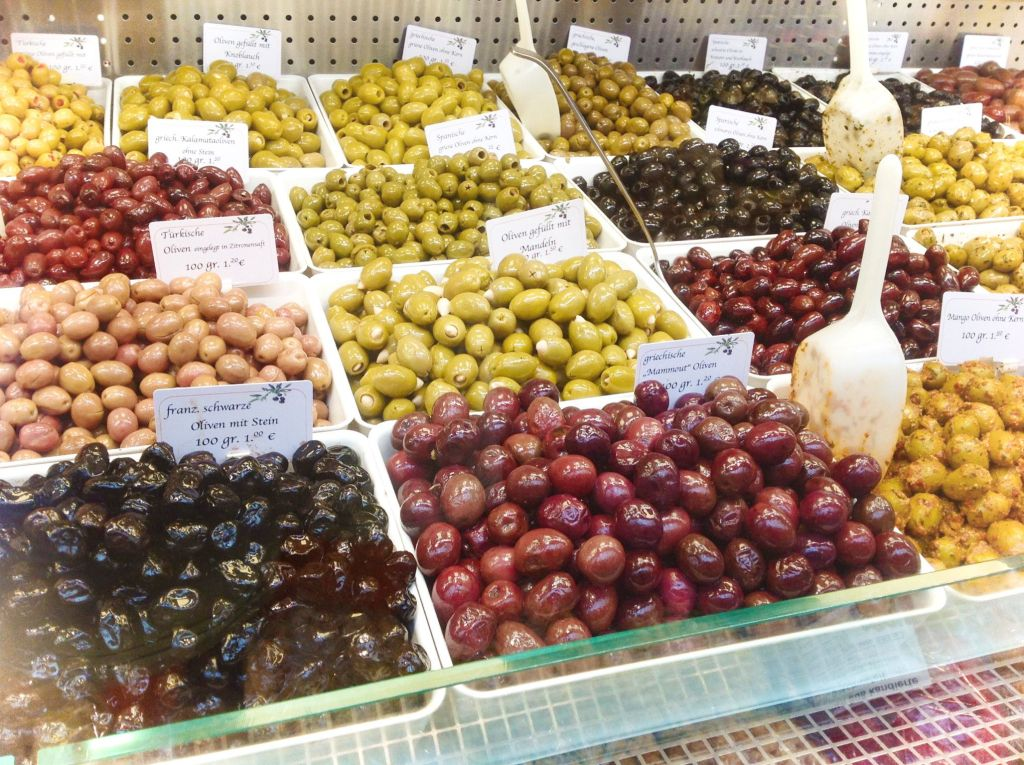 Olives in Germany at the Market - Try different varieties of olives for this healthy, plant-based vegan recipe