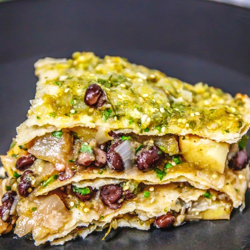 Salsa Verdes Black Bean Enchilada Mexican Plant-Based Casserole - Healthy, Oil-Free, Gluten-Free, Vegan Recipe from Plants-Rule