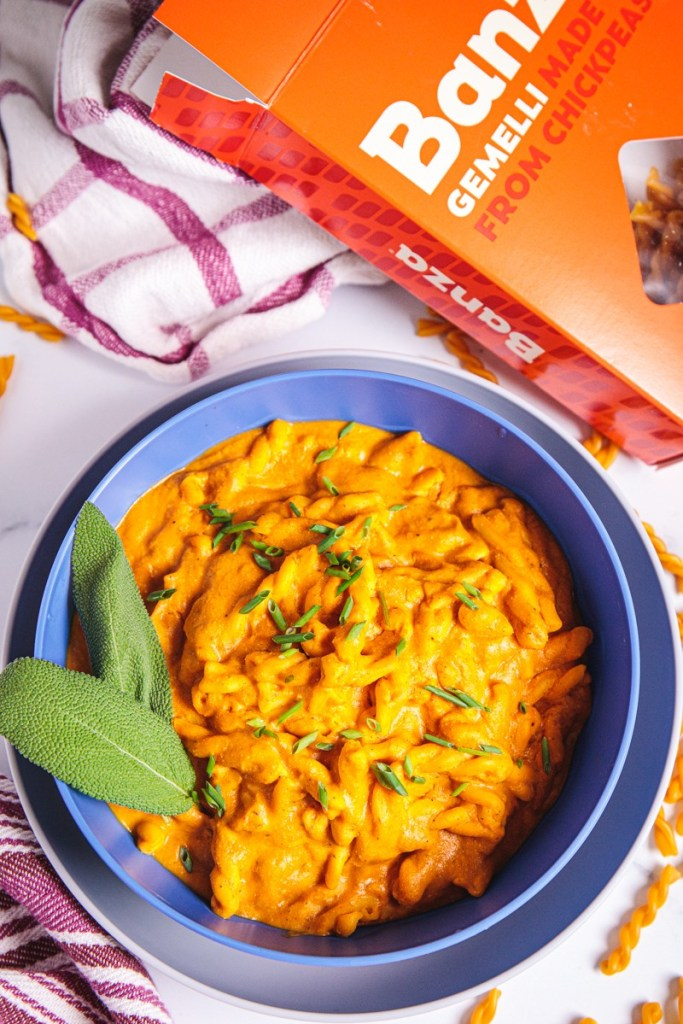 1-pot Pumpkin Sage Pasta with Chickpea Gemelli Noodles - Plant-based, Gluten-Free, Oil-Free, Healthy Vegan Dinner Recipe from Plants-Rule