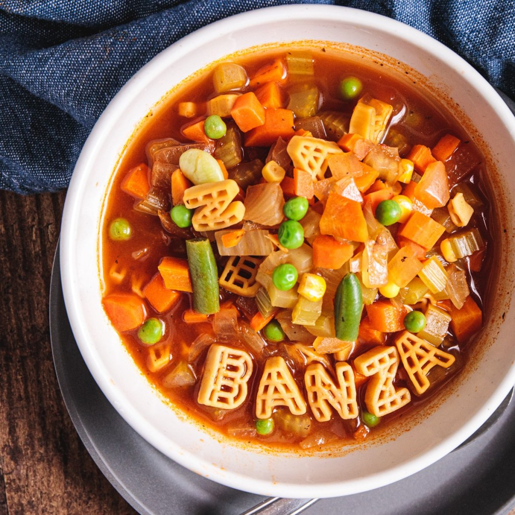 Easy Chickpea Alphabet Vegetable Soup - Healthy, Plant-Based, Oil-Free, Whole Foods Vegan Recipe from Plants-Rule