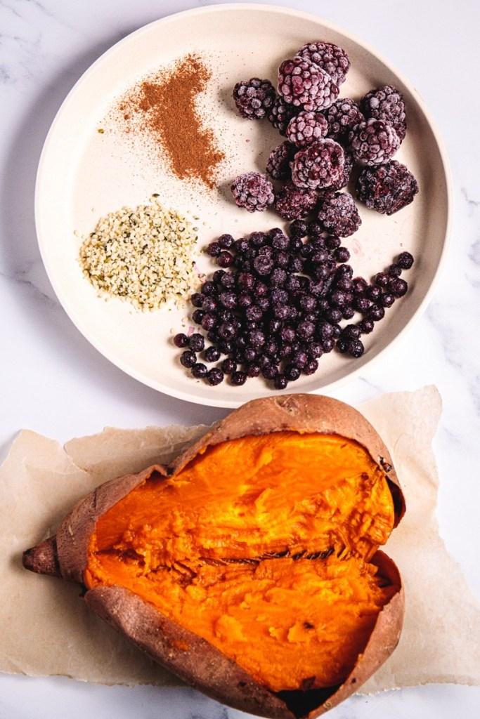 Blueberry Blackberry Power Hemp Stuffed Sweet Potato - Healthy, Plant-based, Gluten-Free, Oil-Free Vegan Recipe from Plants-Rule