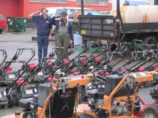 landscape mowers being readied for spring