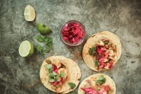 vegan cauliflower tacos with pickled red onions