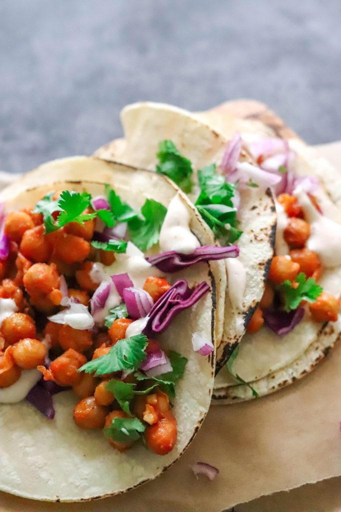 quick, pantry-friendly bean tacos with buffalo sauce.  Vegan and plant-based.