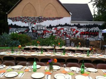 Dinner set up and Mural