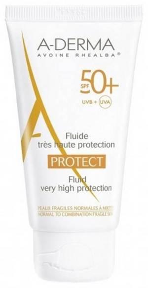 ADERMA PROTECT FLUID SPF 50+ 40ML Indicatii: Protectie solara SPF 50+ pentru pielea fragila, normala spre mixta. Proprietati: Protejeaza de razele UVA/UVB.Creste rezistenta barierei cutanate.Asigura mecanismele de aparare celulara pe durata expunerii la soare.Textura fina, cremoasa pentru pielea fragila, normala spre mixta.Parfum subtil. Fara parabeni. Fara fenoxietanol.  Utilizare: Se aplica pe fata inainte si pe perioada expunerii la soare ori de cate ori este necesar.