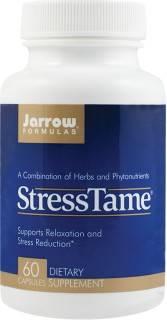 STRESSTAME 60CPS contribuie lareducerea nervozitatii, stresului, iritabilitatii, migrenelor, pesimismului, incertitudinii Beneficii: contine PharmaGABA™, extract patentat de NutriGold, lider mondial in cercetarea si dezvoltarea de profilcontine L-Teanina, extract patentat de Suntheanine® Contribuie la:  reducerea nervozitatii, stresului, iritabilitatii, migrenelor, pesimismului, incertitudinii, palpitatiilor cardiaceimbunatatirea capacitatii de concentrare, inducerea relaxarii si a starii de bine: creste nivelul serotoninei si dopamineireducerea efectelor negative ale excesului de cortizol secretat in situatii de stres (tensiune arteriala crescuta, glucoza crescuta in sange, imunosupresie, reactii alergice etc.)imbunatatirea somnuluireducerea manifestarilor sevrajuluirelaxarea neuro-musculara  Compozitie per 2 capsule:  Floarea pasiunii 300 mg(Passiflora incarnata)(extract din floare, tulpina) Originara din sud-estul Statelor Unite ale Americii, floarea pasiunii este o planta perena, cu continut de alcaloizi, glicozide, flavonoide, avand efect sedativ, tonic nervos, antispasmodic, diaforeic, vasodilatator , fiind recomandat ca adjuvant in sindromul premenstrual, dismenoree, afectiuni gastrice, afectiuni respiratorii, afectiuni renale.  Scutellaria baicalensis 200 mg(radacina) Este o planta originara din America de Nord, a carei radacina contine flavonoide, amidon, avand efect antiinflamator, antialergenic, antiinfectios, antitumoral, sedativ, hipotensiv, fiind recomandat ca adjuvant in tulburari de anxietate, stari de nervozitate, stres, oboseala cronica, dismenoree, sindrom premenstrual, insomnie, afectiuni digestive, afectiuni respiratorii. Hamei 140 mg(Humulus lupulus)(extract din floare) Planta ierbacee, originara din emisfera nordica, a carei floare contine fitoestrogeni, tanini, rasina, avand efect sedativ, calmant, diuretic, tonic, fiind recomandat ca adjuvant in tulburari de anxietate, insomnie, stari de agitatie. Mac californian 140 mg(Eschscholzia californ
