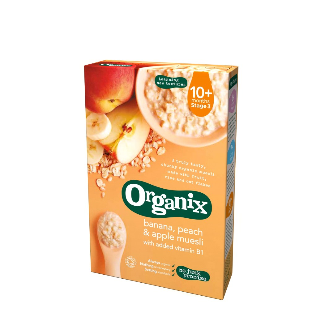 Organix Cereale Muesli  Banane+Piersici+Mere 200g,10+