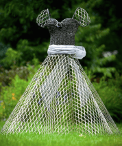 'Cinderella' by Arabella Tattershall, sweetly seduces with unusual metal materials that include barbed wire. Image courtesy of the artist.