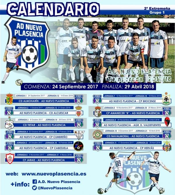 Calendario Oficial del A.D. Nuevo Plasencia en la Segunda División Extremeña