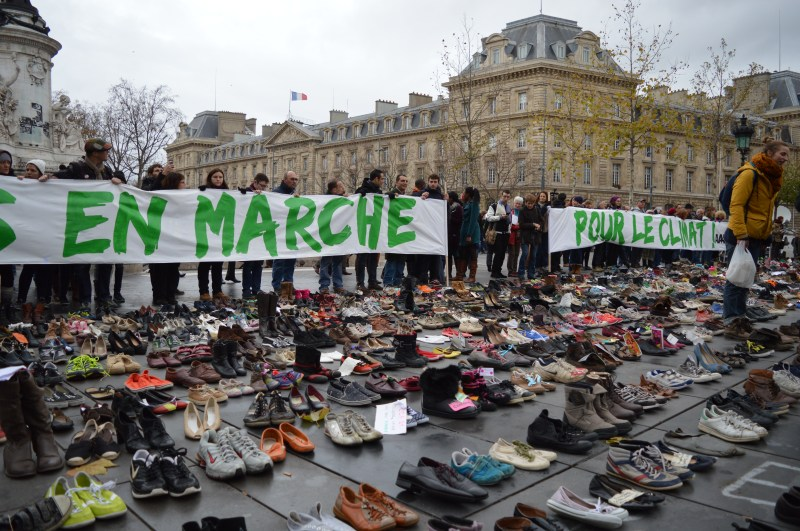 FRANCE, Paris : The Place de la Republique is covered in pairs of shoes on November 29, 2015 in downtown Paris, as part of a symbolic and peaceful rally called by the NGO Avaaz Paris sets off for climate within the UN conference on climate change COP21, as an attempt to get round the French authorities' ban on public gatherings. Paris has extended a ban on public gatherings introduced after the terror attacks in the French capital until November 30, the start of UN climate talks, where some 150 leaders will be tasked with reaching the first truly universal climate pact. - CITIZENSIDE/ALPHA CIT