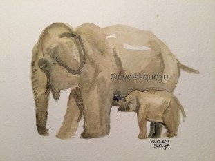 Mamá elefante y su cria