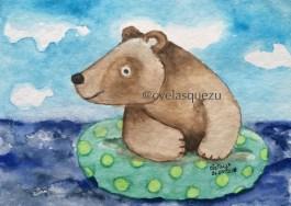 El pequeño oso se va a nadar