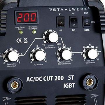 STAHLWERK AC/DC WIG 200 Plasma ST IGBT - Kombi 200 Amp WIG + MMA Schweißgerät mit 50 Amp CUT Plasmaschneider, ALU geeignet, weiß, 7 Jahre Garantie - 6