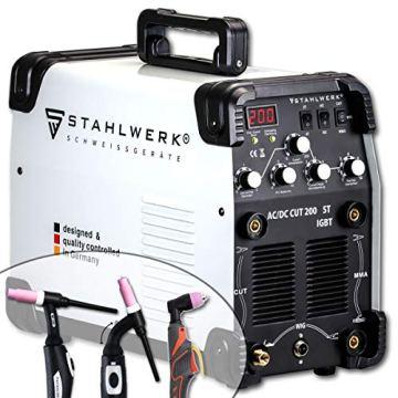 STAHLWERK AC/DC WIG 200 Plasma ST IGBT - Kombi 200 Amp WIG + MMA Schweißgerät mit 50 Amp CUT Plasmaschneider, ALU geeignet, weiß, 7 Jahre Garantie - 1