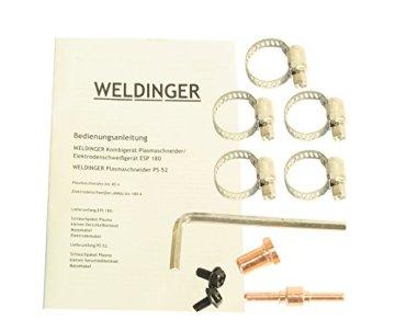WELDINGER EPS180 Elektroden-Schweißinverter + Plasmaschneider Kombigerät 180A/45 A - 8