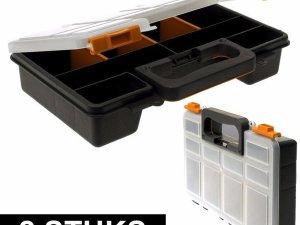 2x Opberg/sorteer boxen met 8 vakken 29 cm - Opbergboxen - Opbergen/opruimen - Sorteerdozen